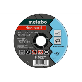 125x1,0x22,23 vágókorong Metabo Novorapid  Inox (H) 616904000 10db/cs., 616904000
