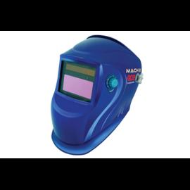Hegesztő fejpajzs automata OTOS Mach II DIN 9-13(látómező:96x46mm, késleltetés,AVI-ra is, nap és gomb elemes),metál kék