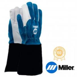 Hegesztő kesztyű AVI Miller, hosszú fekete mandzsetta finom kecskebőr tenyér és kék marhabőr kézfej, 11-es