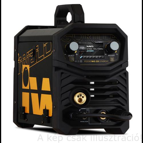 MIG/MAG Heg. gép Iweld GORILLA POCKETMIG 225 Synergic(MIG/BKI) invertres,230V,(5kg-os huz) (190A-60%,3m-es pisztoly,kábelekkel) 800MIG225SYN