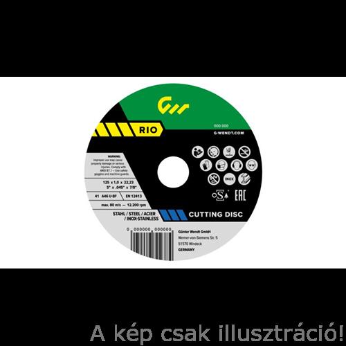 125x1,0mm vágókorong  G-Wendt RIO INOX 125x1,0x22,23mm, 50db/cs.fémkonzervben, W270407