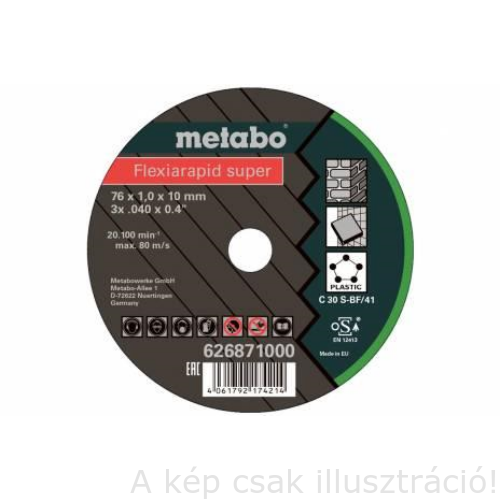 76x1,0x10mm  Metabo Flexiarapid Super vágókorong Inox (5db/cs.) 626870000