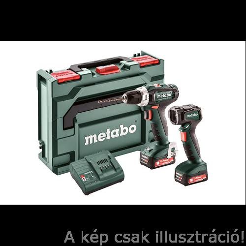 METABO Power Maxx BS Basic Fúrócsavarozó (1db x 10,8/1,5Ah)+(1db 10,8/3Ah)+LED akkus lámpa,táska,LC40 töltő