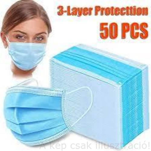 Légszűrő maszk gumi fülpánttal, 3 rétegű 175x95mm kék 50 db/csomag