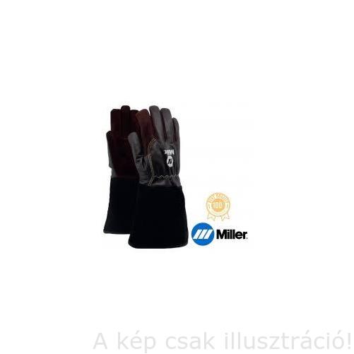 Hegesztő kesztyű AVI+MIG/MAG Univerzális Miller,hosszú mandzsetta, barna finom kecskebő tenyér és kézfej, 9-es