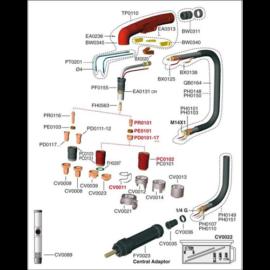PLAZMA TRAFIMET A 141 hosszú elektróda,fúvókához CV0008 védő távtartó réz kupak