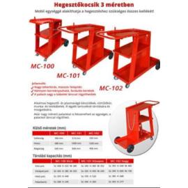 Heg. géphez kocsi piros, MC 102, méretek(mm) SZ550,H1230,M900 Alfaweld