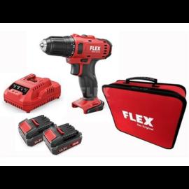 FLEX DD 2G 10,8-LD 2 sebességes akkus fúró-csavarozó 2db 2,5,0Ah/10,8V szettben töltövel és textil hordtáskában 450.561