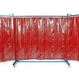 Hegesztéshez paraván Cepro Omnium 200x215cm piros, görgős állványon