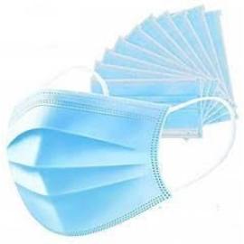 Légszűrő maszk gumi fülpánttal, 3 rétegű 175x95mm kék 50 db/csomag (48 csomag=1 karton) TK130001416762