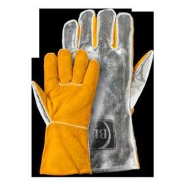 Hegesztő kesztyű kevlár erősítés,  alukasírozott kézhát  BLM hasított marhabőr, teljesen bélelt (sárga-alu)