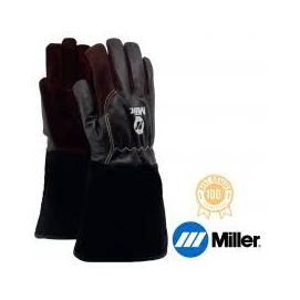 Hegesztő kesztyű AVI+MIG/MAG Univerzális Miller,hosszú mandzsetta, barna finom kecskebő tenyér és kézfej, 9-es  758081012