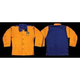 Hegesztő kabát hasított marhabőr, szikraálló vászon hátrész, kevlár erősítés (sárga-kék BLM BMV3060) - XL-XXL