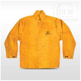 Hegesztő kabát prémium  hasított marhabőr, kevlár erősítés L-es (sárga)  BLM