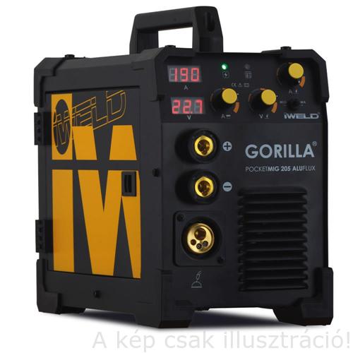 MIG/MAG Heg. gép Iweld GORILLA POCKETMIG 205 AluFlux(MIG/BKI) invertres, 230V,(5kg-os huz) (190A-60%,3m-es pisztoly,kábelekkel) 80POCMIG205