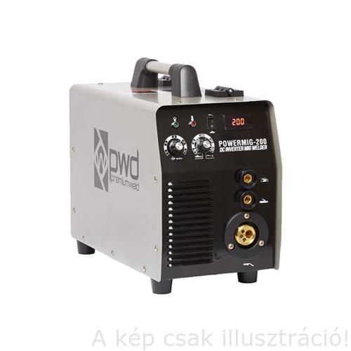 MIG/MAG Heg. gép Parweld PowerMig-200 Plus Inverteres, CO Heg.pisztoly(180A-3m) tartozékkal (PWDMIG200P)