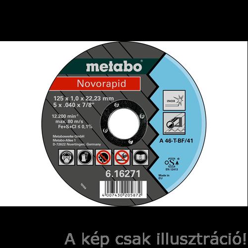 125x1,0x22,23 vágókorong Metabo Novorapid  Inox (H) 616904000 10db/cs., 616904000, Akciós áron!