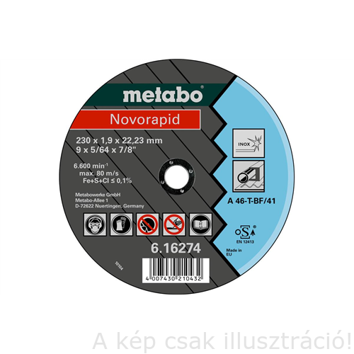 230x1,9x22,23 vágókorong Metabo  Novarapid 616274000