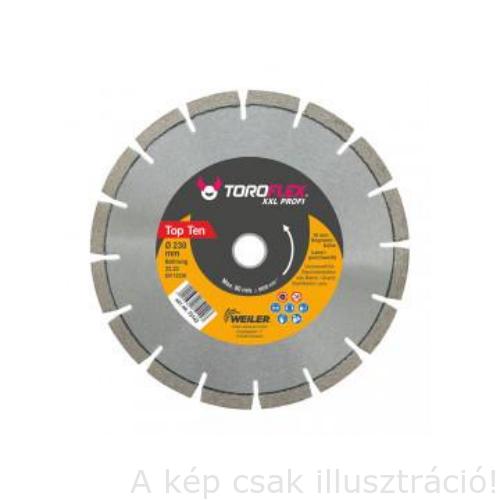 Gyémánt vágótárcsa vasalt betonra is 230X22,23mm/SH10 TOROFLEX XXXL PROFI (75142) 10 mm széles gyémánt réteggel WEILER 010301-0038