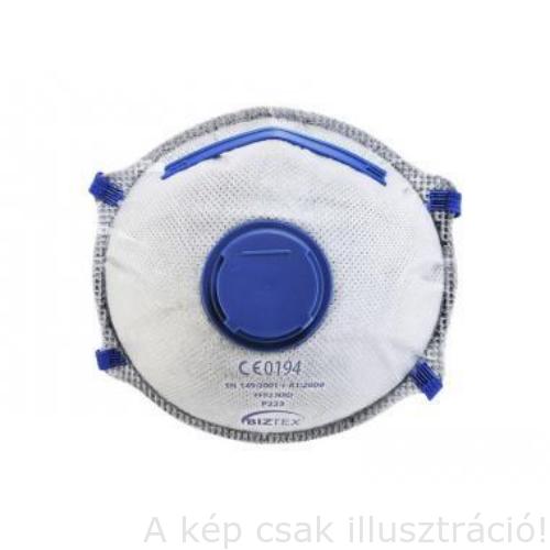 Pormaszk FFP2 szelepes PortWest aktívszenes Dolomit légzésvédő maszk 10 db/csomag PW-P223WHR