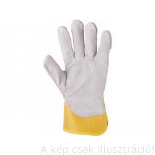 Muv. kesztyű  ELTON- EIDER :10,5méretű sárga kombinált szürke vastag marhahasíték