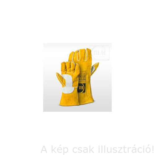 Hegesztő kesztyű kevlár erősítés, hasított marhabőr, teljesen bélelt, megerősített tenyérrész (sárga)