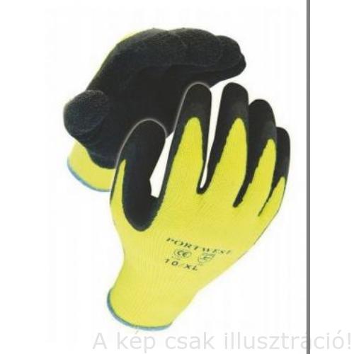Muv. kesztyű A140 mártott latex, téli kivitel sárga/fekete 9-es