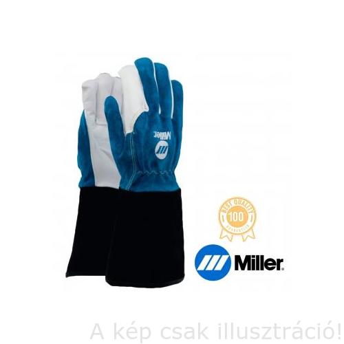 Hegesztő kesztyű AVI Miller, hosszú fekete mandzsetta finom kecskebőr tenyér és kék marhabőr kézfej, 11-es  758081009